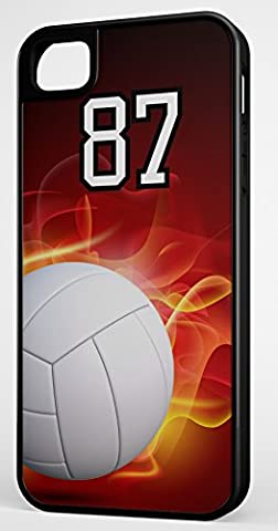 iPhone Case Fits iPhone 7 PLUS 7+ Hybrid Tough Case Volleyball Flaming Fire Any Custom Jersey Number 87 Black Plastic Black (Rubber Spike Phone Case)