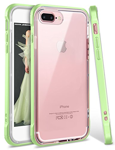 iPhone 8 Plus Case, iPhone 7 Plus Case, Ansiwee Shockproof Armor iPhone 7 Plus Protective Defender Impact Resistant Slim Fit Rubber Bumper Case Cover for Apple iPhone 7/8 Plus 5.5 inch (Light Green) (Case Neon 4 Iphone Green)