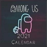 """Among us Game 2021 Wall Calendar: among us characters """"8.5x8.5"""" Inch Wall 202"""