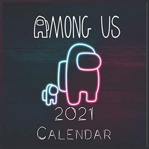 """Among us Game 2021 Wall Calendar: among us characters """"8.5x8.5"""" Inch Wall 2021 Calendar"""