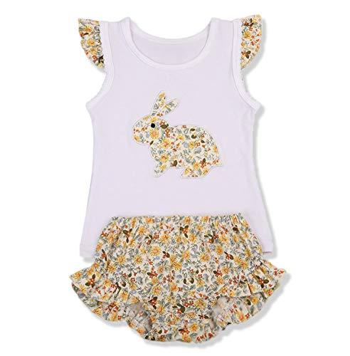 - Younger Tree Newborn Baby Girl Easter Outfit Ruffle Sleeveless Bunny Bodysuit Tops +Floral Tutu Shorts 2Pcs Clothes Set, Yellow T-shirt, 0-3 Months