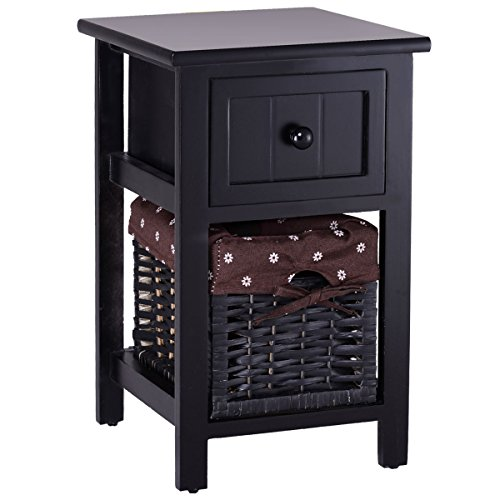 Giantex 2 Tier Nightstand Bedroom End Table Bedside Organizer Wood with Drawer & Basket, Black by Giantex
