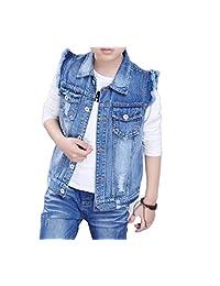 Beeatree Boy Kids' Buttoned Denim Vest-Jacket Retro Ripped Chest Flap Pockets