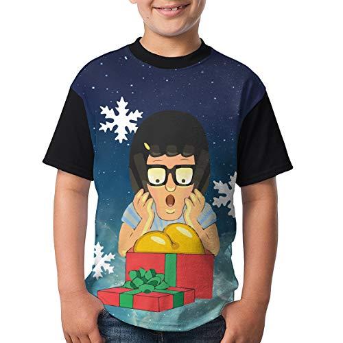 Bobs Burgers Tina Christmas Youth Raglan Short Sleeve Tee Casual Crew Neck T-Shirt XL ()