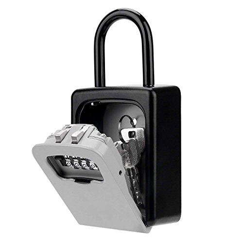 KIPRUN Key Storage Lock Box, 4-Digit Combination Lock Box, Wall Mounted Lock Box, Resettable Code (Belt Hook)