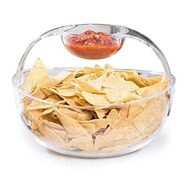 Adorn Crystal Clear Plastic Chips n' Dips Bowl | Salad Bowl | Fruit Bowl | Vegetable Bowl | Removable Arch Dip Cup