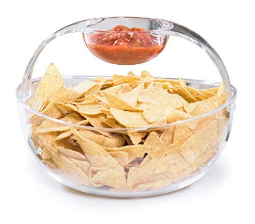 Wholesale Dip Mixes - Adorn Crystal Clear Plastic Chips n' Dips Bowl | Salad Bowl | Fruit Bowl | Vegetable Bowl | Removable Arch Dip Cup