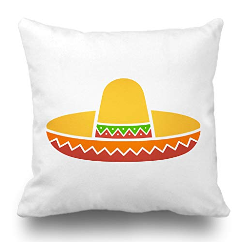 Batmerry Halloween/Thanksgiving Theme Decorative Pillow Covers 18 x 18 inch, Mexican Hat Colorful Flat Mexico Celebration Cowboy Crown Cultural Throw Pillows Covers Sofa Cushion Cover Pillowcase