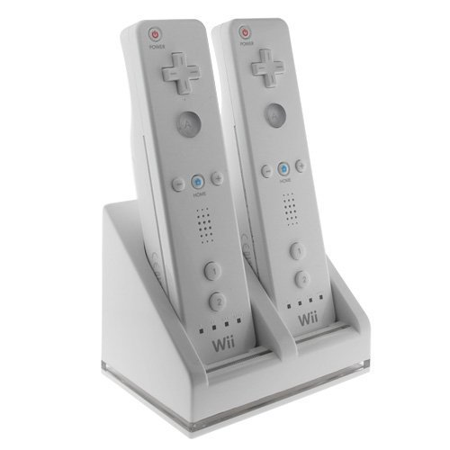 Dual Charging Station w/ 2 Rechargeable Batteries & LED Light Compatible with Nintendo Wii / Wii U Remote Control, - Wii Dual Station