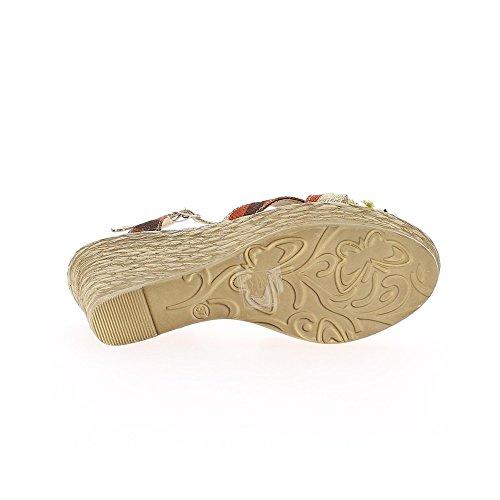 Sandales compensées femme taupes à talon de 10,5cm fleur