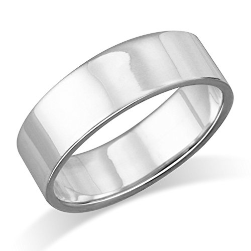 6MM Sterling Silver Plain Flat Wedding Band Ring - Size 7 ()