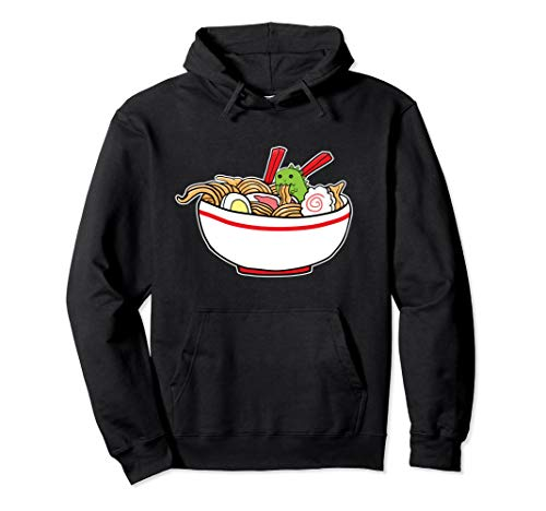 Kawaii Japanese Anime T-Rex Hoodie Cute Dinosaurs Ramen Top -