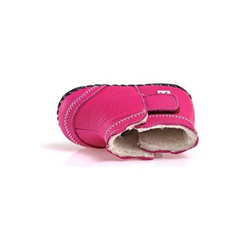 CAROCH - Zapatos de bebe primeros pasos de cuero niñas | Botines forradas rosa con fiore fushia Rosa