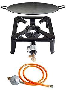 PAELLA WORLD International Hornillo de Gas Taburete eléctrica de Juego con Wok de Hierro y Gas Conector Juego de 3Piezas, Varios Colores