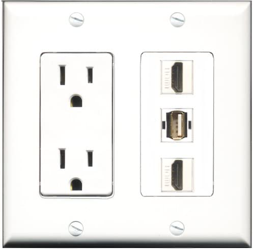 15 Amp Power Outlet 2 Port HDMI 1 Port USB A-A Decorative Wall Plate RiteAV
