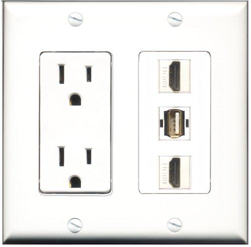 RiteAV - 15 Amp Power Outlet 2 Port HDMI 1 Port USB A-A Deco