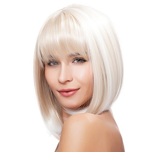 Kalyss Short Shoulder Length Bob Blonde Wigs with Hair Bangs Heat Resistant Yaki Synthetic Wig for Women -