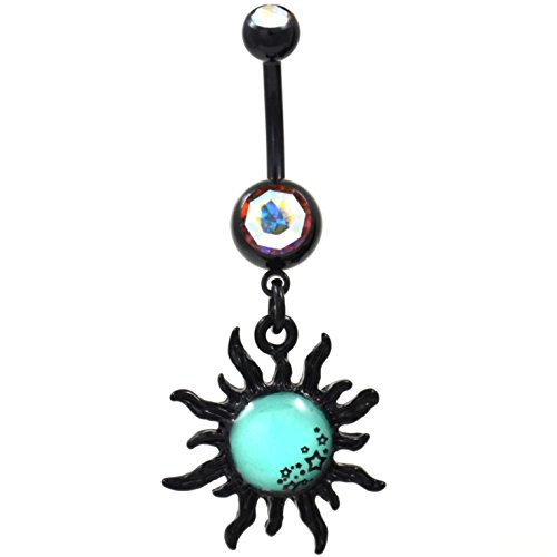 Glow in the Dark Tribal Sun and Stars Blackline Steel Belly Button Navel Ring - 14G 3/8