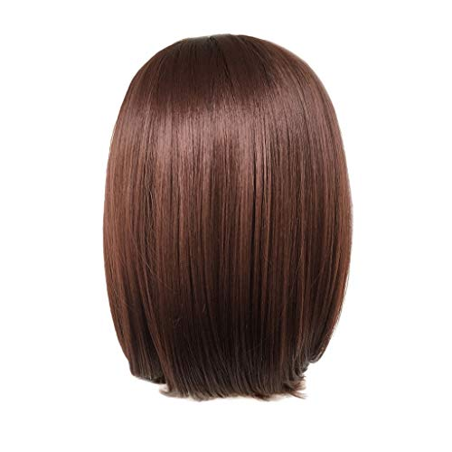 Wigs with Bangs,Women Fashion Lady Gradient Short Straight Hair Cosplay Party Wig -