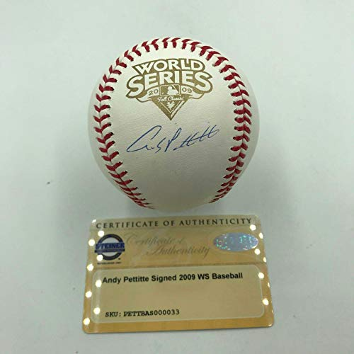 (Andy Pettitte Autographed Ball - NY Official 2009 World Series COA - Steiner Sports Certified - Autographed Baseballs)