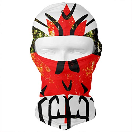 Leopoldson Cool Canada Flag Skull Vintage Balaclava UV Protection Windproof Ski Face Masks for Cycling Outdoor Sports Full Face Mask Breathable