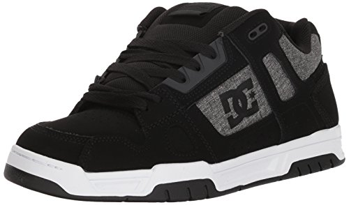 DC Men's Stag Skate Shoe, Black/Grey/White, 10 D D US