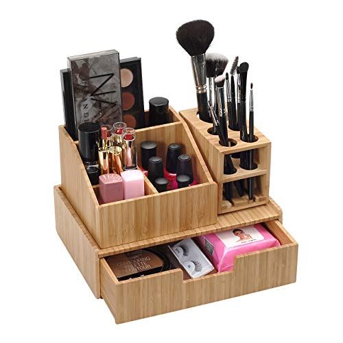 Bamboo Makeup Organizer Complete Combo, 3 PC set INCLUDES: 5 Section Brush Holder, 4 Compartment Cosmetic Caddy & Drawer… 1