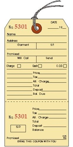Alteration Tags with String and Coupon Stub, Manila, 3.125 x 6.25 inches, Consecutively Numbered - 25 TAGS