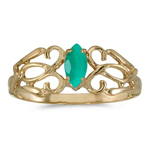 Genuine Marquise Emerald Ring (14k Yellow Gold Marquise Emerald Filagree Ring (Size 5))