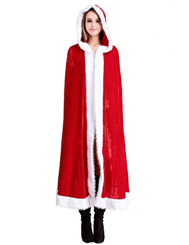 Mrs Claus Robe (Papaya Wear Women's Red Mrs Santa Claus Christmas Hooded Cape Cloak)