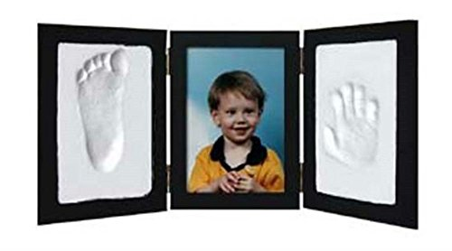 BLACK - CLAY KEEPSAKE & PHOTO DESKTOP FRAME KIT Handprint Footprint Impression from Unknown