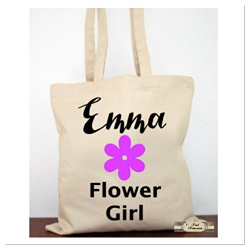 Personalized Flower Girl Tote Bag, Bridal Party Gift, Bridal Tote Bag, Bridal Party Gift, Flower Girl Gift, Engagement Gift, Any Color - Girl Flower Tote Bag Canvas