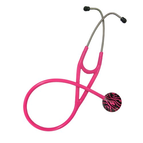 Ultrascope Adult Stethoscope with Hot Pink Tubing, Zebra Print (Pink Adult Stethoscope)