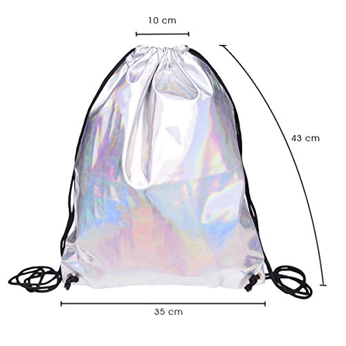 Bolso holograma Bolso del Bolso mujeres de la de del Plata Holograma holográfico gimnasio Flada del las de PU cuero hombro de la festival mochila de de xTTngrAY