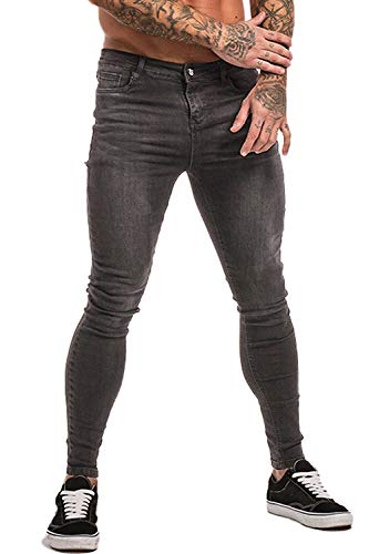 Men Jeans Skinny Fit Stretch Summer Designer Jeans for Men Grey 32