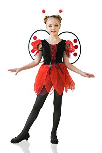 Ideas Ladybug Costume (Kids Girls Ladybug Princess Costume Lovebug Wings & Antennae Bug Party Dress Up (3-6 years, Red,)
