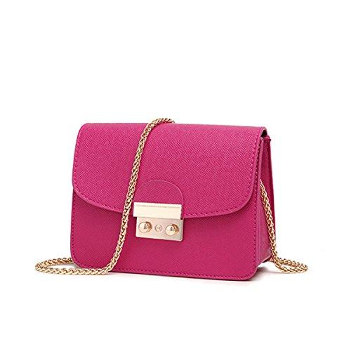 WU ZHI Lady Wild Mini Pequeña Bolsa Cuadrada Bolso De La Cadena De Hombro Messenger Bag Rosered