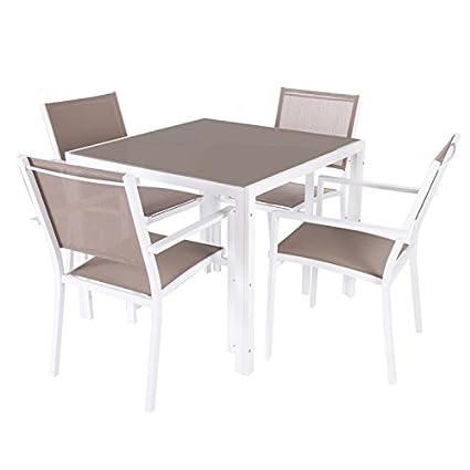 Conjunto mesa de jardín cuadrada + 4 sillas (aluminio y ...