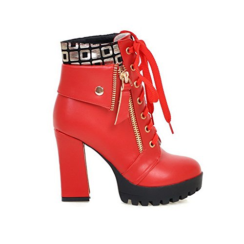 Round Assorted Heels WeenFashion High PU Color Toe Closed Boots Red Low Women's top 5xw8nawfq