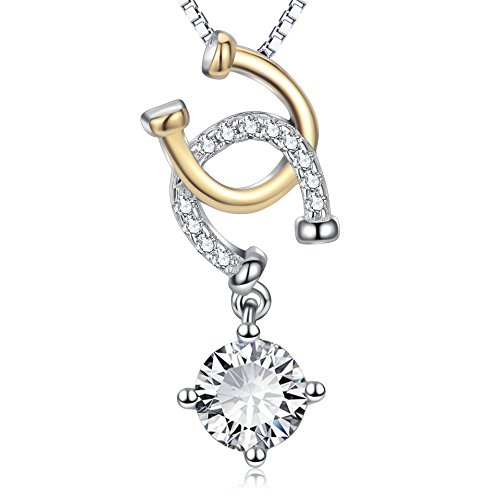 Sterling Silver Cubic Zirconia Lucky Horseshoe Pendant Necklace 18'