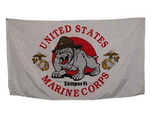 - AES 3x5 3'x5' USMC Marines Devil Dog Mascot EGA Flag Banner Grommets Fade Resistant Double Stitched Premium Penant House Banner Grommets