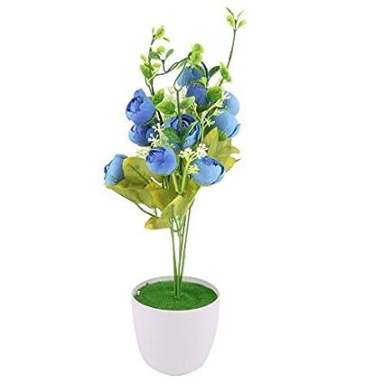 eDealMax crisol plástico dormitorio arte de DIY decorativo simulación Artificial de Rose Flor Azul