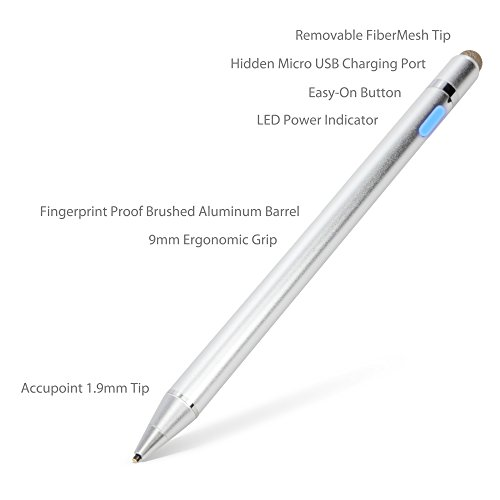 (ASUS Transformer Book T100 Stylus Pen, BoxWave [AccuPoint Active Stylus] Electronic Stylus with Ultra Fine Tip for ASUS Transformer Book Flip T100 - Metallic Silver)