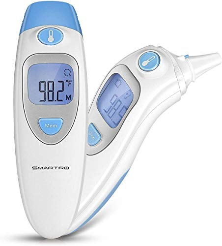 SMARTRO Ear and Forehead Thermometer for Fever, Digital Medical Infrared Thermometer for Baby, Infants, Kids and Adults CE and FDA Approved