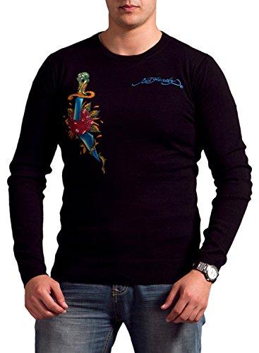 Ed Hardy Mens Snake Eagle Crewneck Sweater - Black - X-Large