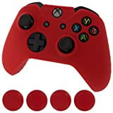 Assecure red protect & grip pack soft silicone skin grip protective cover rubber bumper case with ribbed handle grip & TPU analogue thumb grip stick caps for Microsoft Xbox One controller Review