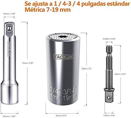 ... 1 Multifunción Herramientas 7-19mm, ASW01A Vaso Universal con Acero al Cromo Vanadio, 1 x Portapunta, 1x Adaptador para Taladro Eléctrico y Atornillador