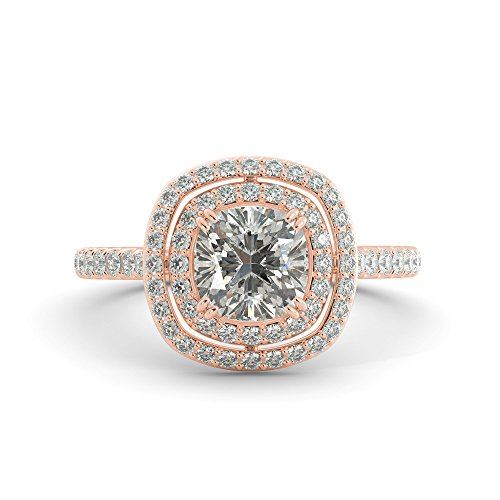(2.18 ct Cushion Cut Charles & Colvard Forever One Moissanite & Round Cut Diamond Double Halo Engagement Ring Pave 14k White Rose Yellow Gold)