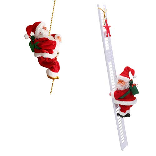 Flameer 2pcs Electric Animated Climbing Santa Claus (Climbs Up and Down) Xmas Decor ()