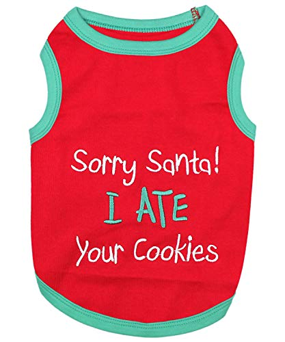 Parisian Pet Funny Christmas Holiday Dog Cat Pet Shirts Tee Tanks - Naughty or Nice, Santa Outfit, Elf Size, Santa's Helper, Sorry Santa I Ate Your Cookies (Sorry Santa I Ate Your Cookies, XS) ()